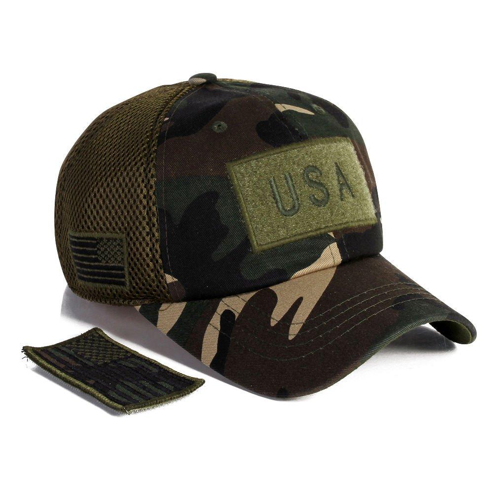 Amazon.com  Military imagine USA American Flag Hat Army Detachable Patch  Micro Mesh Cap  Clothing e5eb8a04443