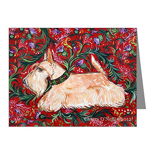 CafePress - Wheaten Scottish Terrier On Red Note Cards (Pk Of - Blank Note Cards (Pack of 20) Matte by CafePress