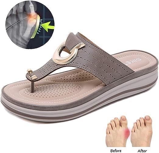 Calzado Abierto de Las Mujeres Playa del Verano Viaje Zapatos corrección del juanete férula Zapatillas Alivio del Dolor Hallux Valgus para Novias y Madre,Caqui,42: Amazon.es: Hogar