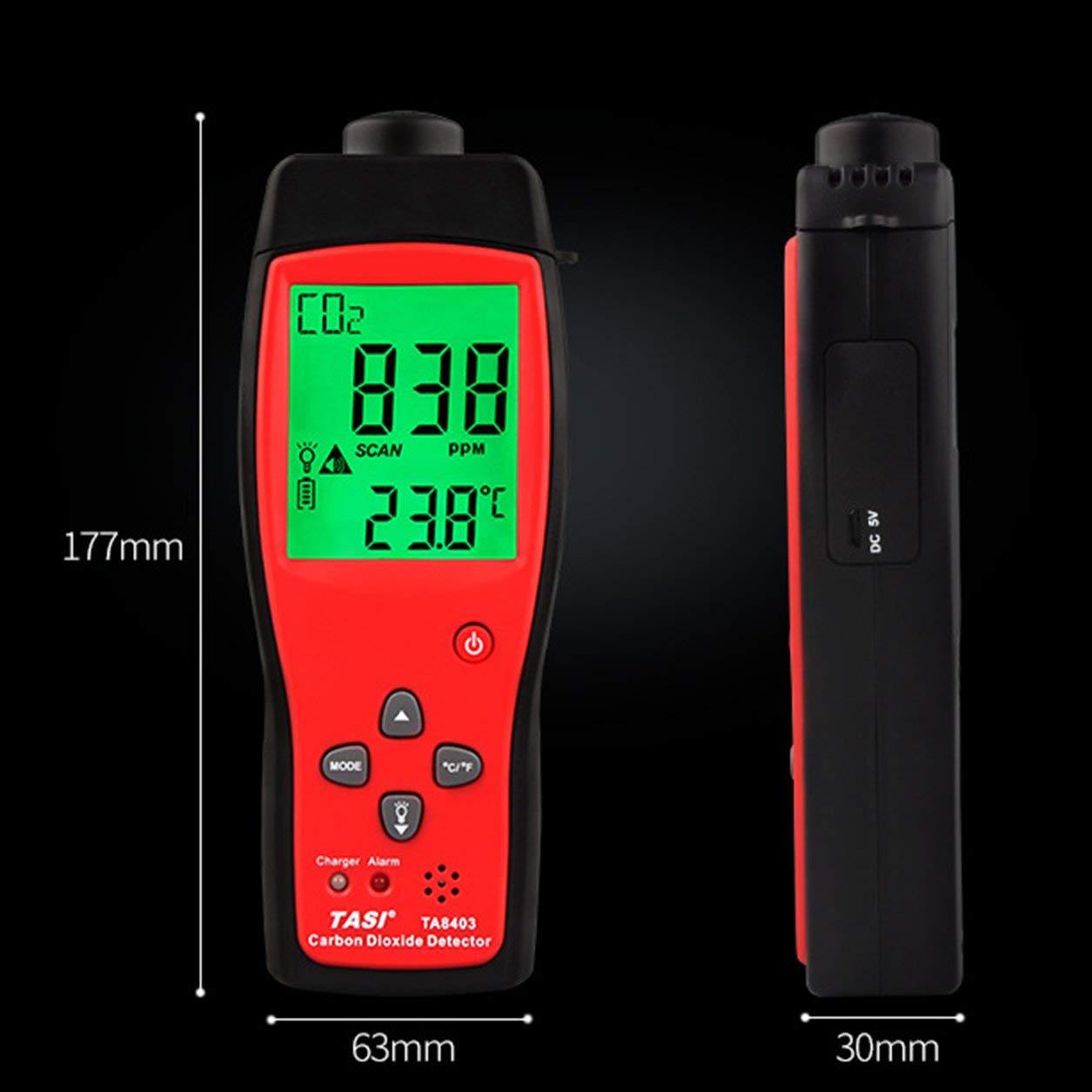 Dióxido de Carbono TA8403 portátil probador del medidor de CO2 Detector Analizador Monitor de CO2: Amazon.es: Bricolaje y herramientas