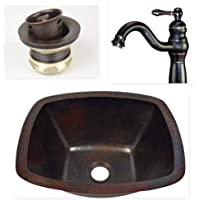 "16"" Rectangular Hand Hammered Copper Bar Prep Sink with 2"" Drain and Oil Rubbed Bronze Faucet Faucet"