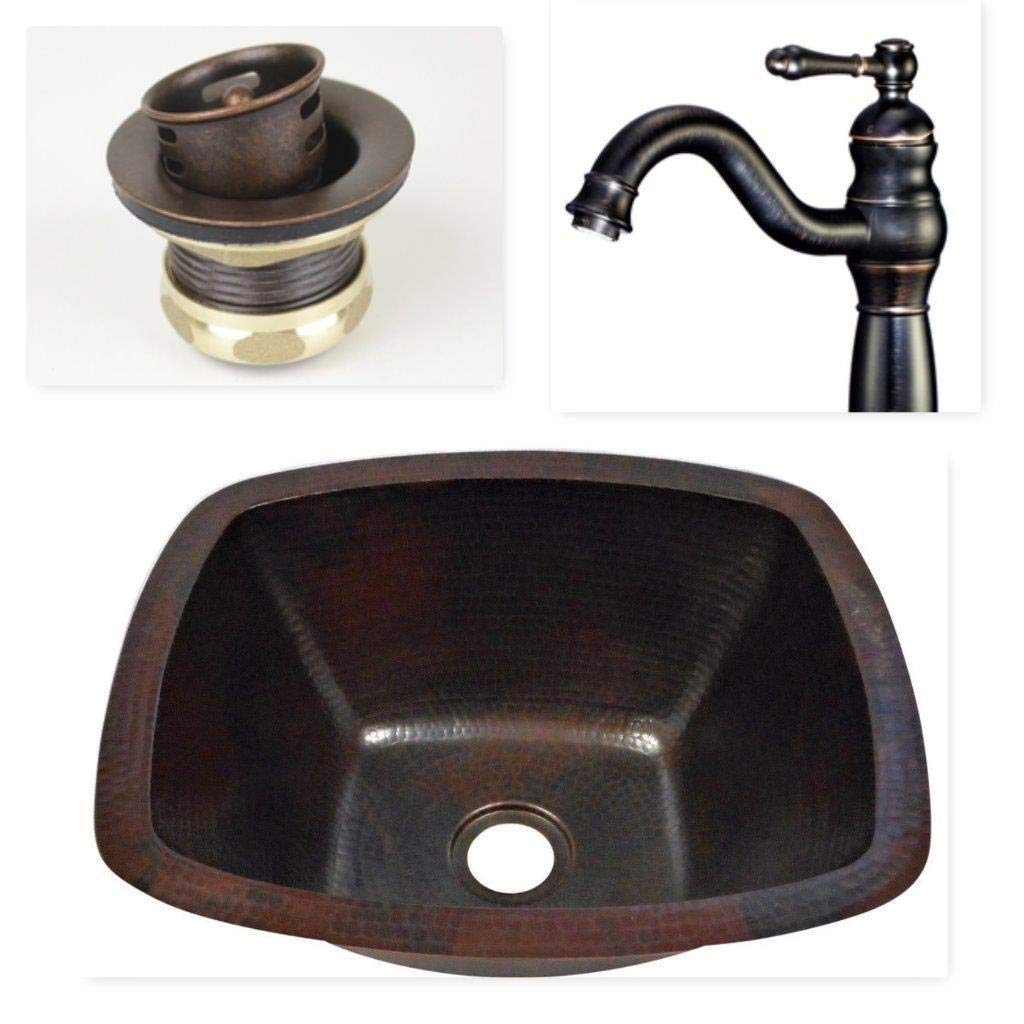 16'' Rectangular Hand Hammered Copper Bar Prep Sink with 2'' Drain and Oil Rubbed Bronze Faucet Faucet