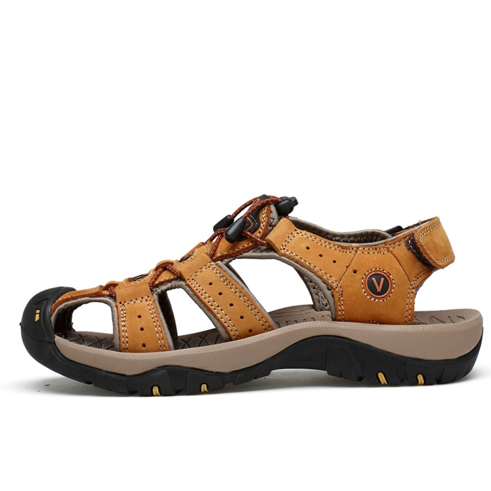 COINED Men's Fisherman Athletic Beach Adjustable Straps Sport Athletic Fisherman Sandals 8.5 D(M)US|Light Brown B07FTGWRXL 09c890