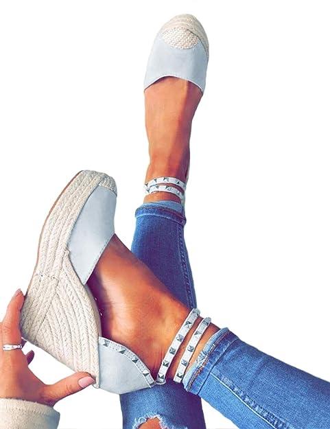 Minetom Sandali Romani Donna Estivo Eleganti Tacco Zeppa Espadrillas  Caviglia Rivetto Benda Moda Casual Sexy High Heels Sandals  Amazon.it   Scarpe e borse 2b099e81edf
