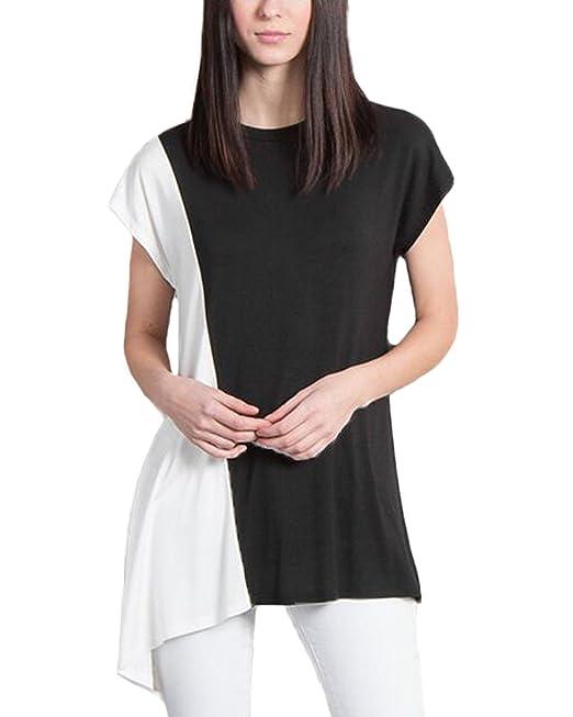 Auxo Camisas Mujer Blusas Algodón de Moda 2017 Negro y Blanco ES 42-44/