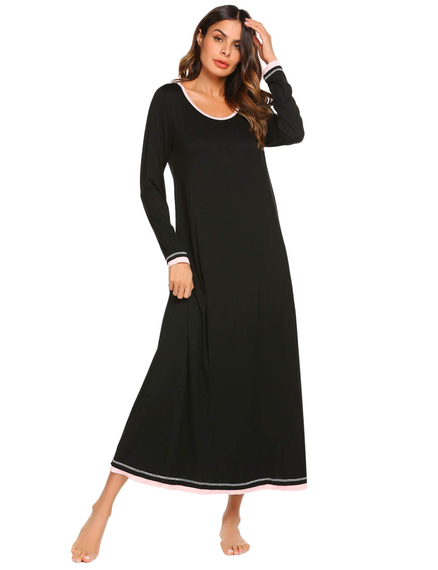 Ekouaer Plus Size Nightgown Women's Long Sleeve Nightshirt Long Sleepwear Gown (Black,XXL)