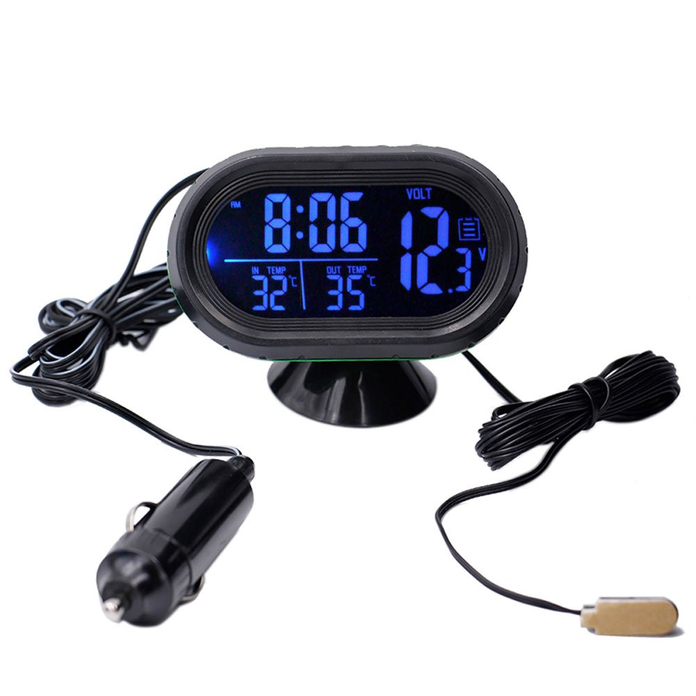 12V 4 in 1 Time Date Dual Temperature Auto Digital Car Thermometer Voltage Meter Monitor Luminous Clock Freeze Alert (green) Automarketbiz