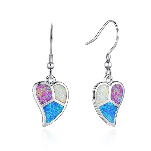 Women Opal Hook Earrings 18K Gold Filled Dangle Drop Trendy Anniversary Jewelry Earrings