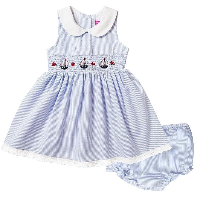 9bbc490a81767 Good Lad Newborn/Infant Girls Red or Blue Seersucker Nautical Smocked Dress  w/Matching