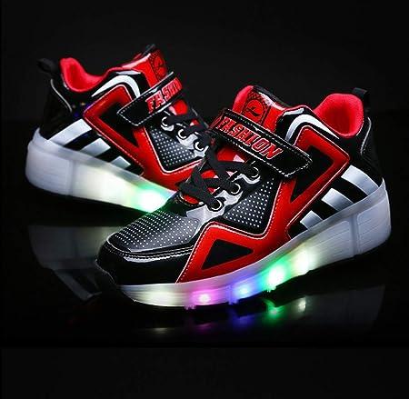 dududrz Led Luminosas Flash Zapatillas con Ruedas Zapatos De Skate con Ruedas Mutilsport Aire Libre Y Deporte Gimnasia Running Zapatillas,Red-32: Amazon.es: Hogar