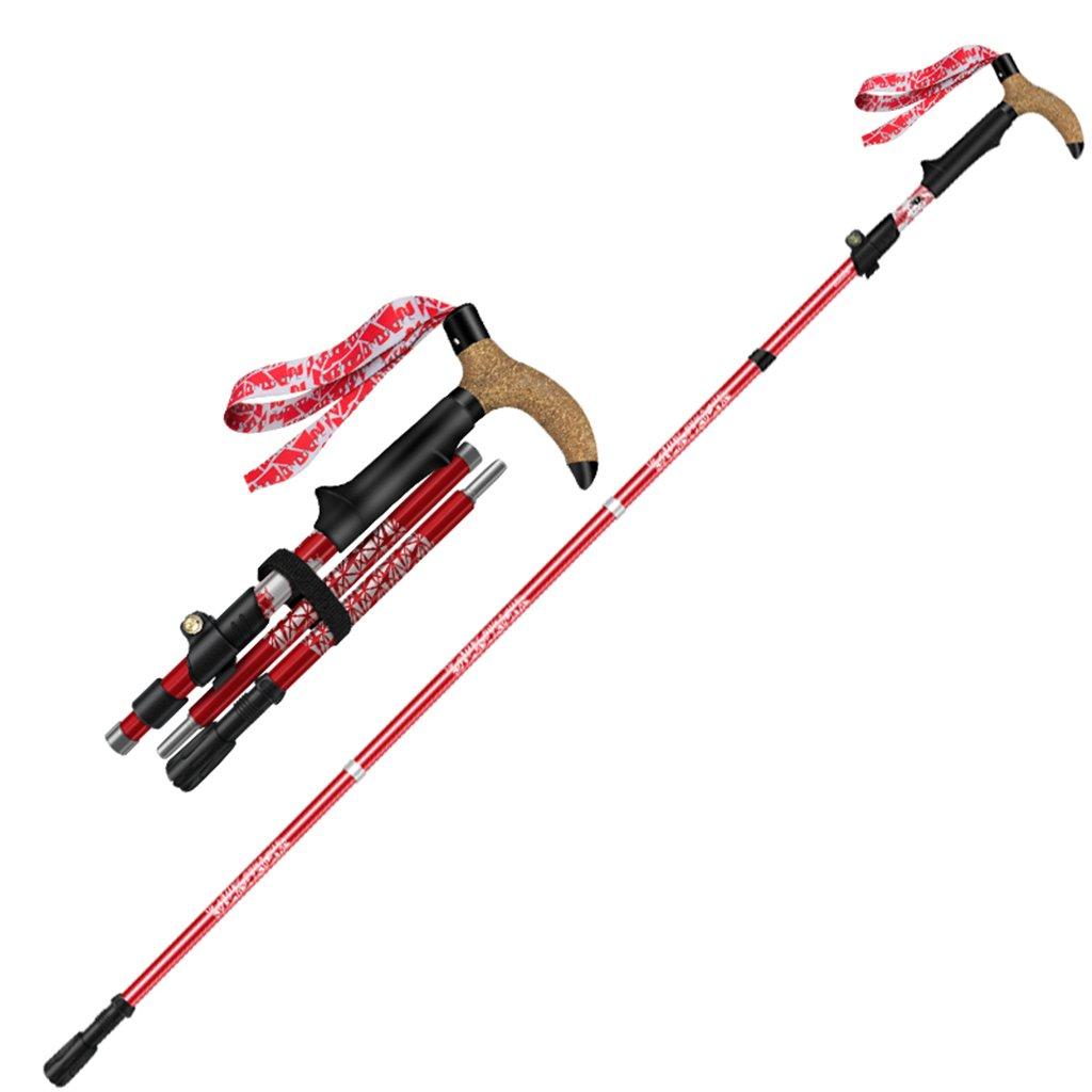 zhaolirushop軽量で持ち運び簡単伸縮ウォーキングスティックトレッキングポールハイキング登山機器多機能Crutchスティック 33-135cm レッド 33-135cm レッド B07F2PBDZZ