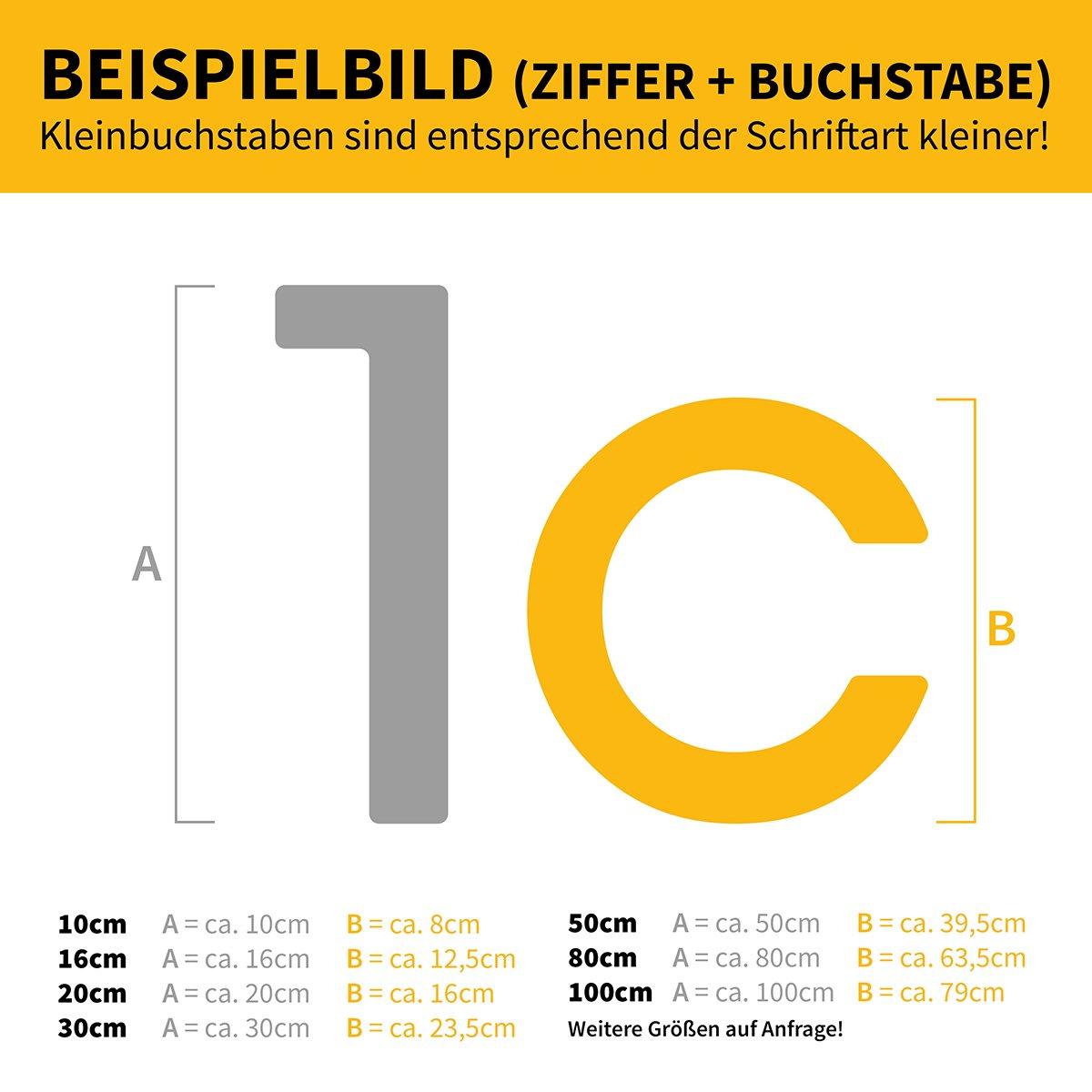 Thorwa/® Design Edelstahl Hausnummer modern Avant Garde Stil RAL 7016 H: 160mm 7 anthrazit pulverbeschichtet