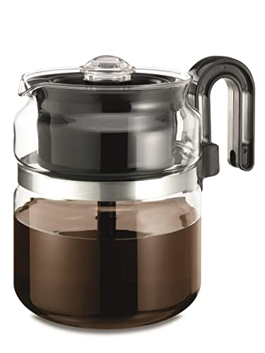 Cafe Brew Collection Stovetop Percolator Coffee Pot, Glass, 8 Cup