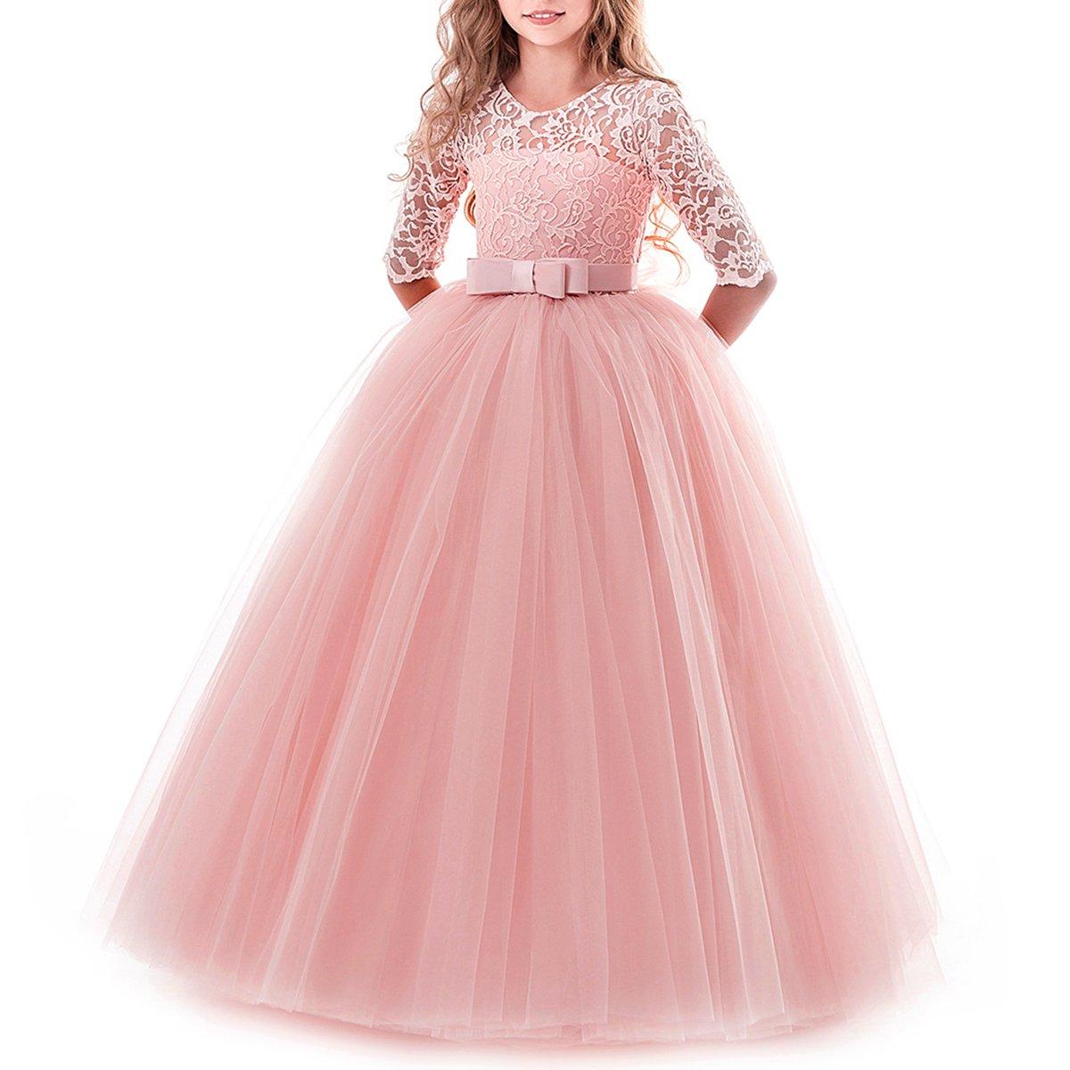 Vestido de niña de flores para la boda Princesa Largo Gala Encaje De ...