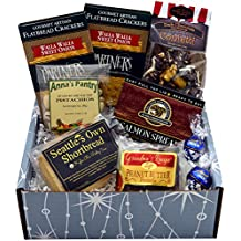 Starry Night Gift Box featuring Smoked Salmon, Crackers, Pistachios, Shortbread, Chocolate Peanut Butter Brittle and Dark Chocolate Covered Caramel Corn with Almonds