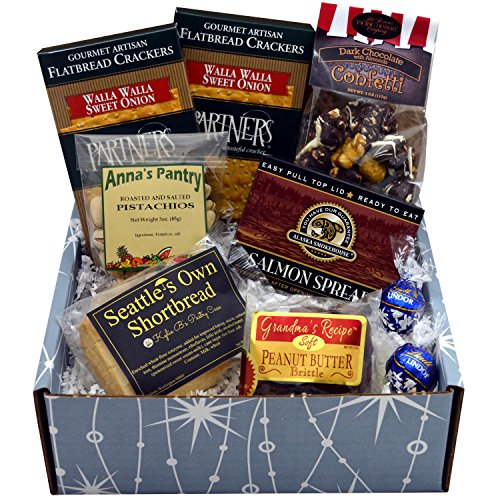 Starry Night Gift Box featuring Smoked Salmon, Crackers, Pistachios, Shortbread, Chocolate Peanut Butter Brittle and Chocolate Covered Caramel Corn with - Northwest Wine Basket