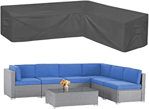 AKEfit Patio Furniture Cover Outdoor Premium Waterproof Fabric Garden Couch Protector Grey L Shaped Sectional Sofa Cover Right-Facing