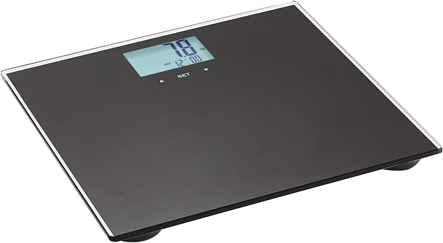 AmazonBasics Body Weight Scale with BMI technology - Auto On/Off Function, Black