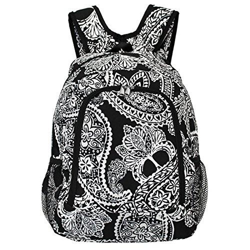 World Traveler Multipurpose Backpack 16-Inch, Black White Paisley, One -