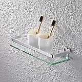 KES Aluminum Bathroom Glass Rectangular Shelf Wall Mounted Tempered Glass Extra Thick, Silver Sand Sprayed, A4126A