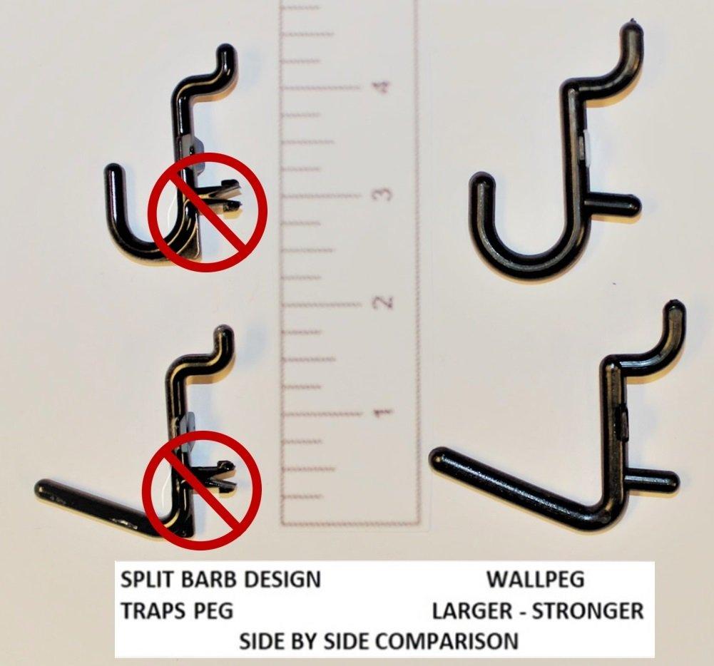 Wall Peg Hook Kit, 100-Pack, Black