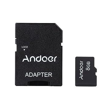 Andoer 8GB Clase 10 la Tarjeta de Memoria TF Tarjeta + Adaptador + Lector de Tarjetas Flash USB para la Cámara Teléfono Table PC GPS