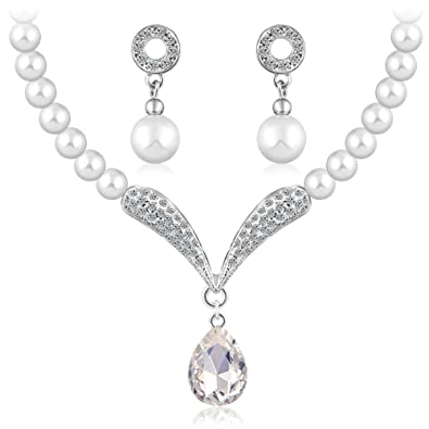 Buy Shining Diva Fashion Crystal Pearl Necklace Set For Women