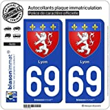 2 Autocollants de plaque d'immatriculation auto 69 Lyon - Armoiries