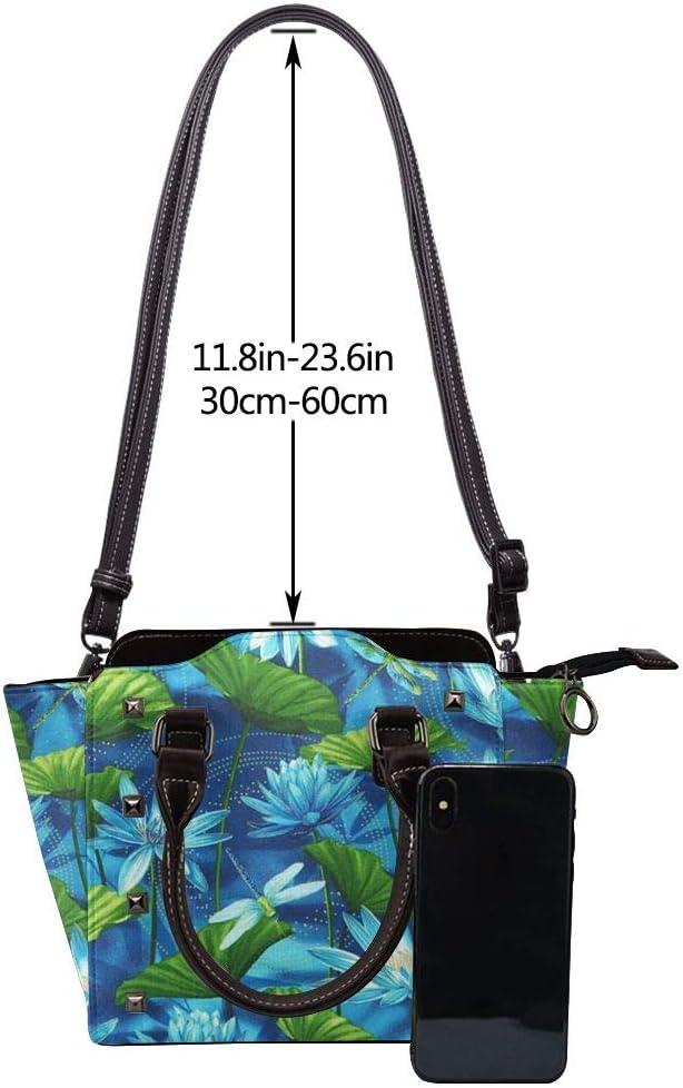 GHUJAOOHIJIO Blue Dragonfly and Lotus Womens Rivet PU Leather Tote Bag Shoulder Bag Purse