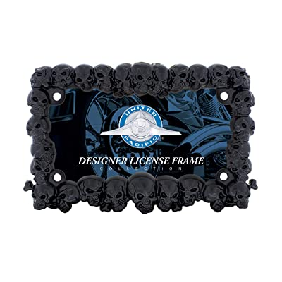 United Pacific Industries 50113 Black Skull Motorcycle License Plate Frame: Automotive
