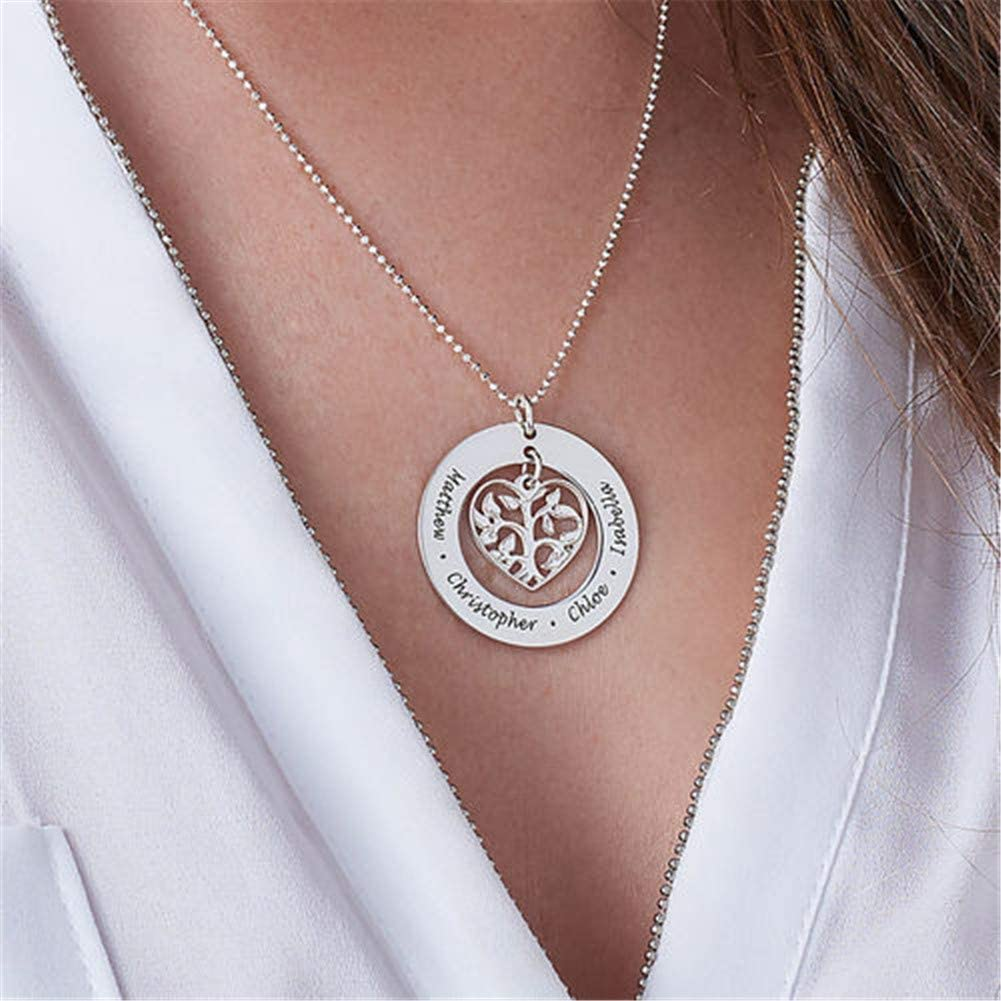 Great Gift Idea for Grandmother and Moms. YvetteWu Personalized My Family Tree Sterling Silver Graduation Necklace Customize Round Charms