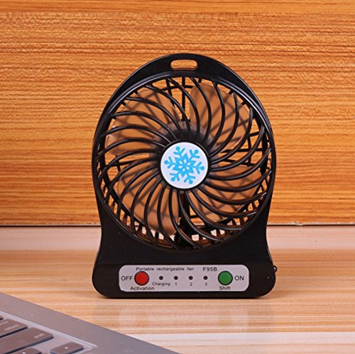 RONGT New Portable Mini USB Li-ion Battery Rechargeable Multifunctional Fan 3 Gear (2600 mAh Battery, Black)