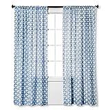 Threshold Curtains Threshold Semi Sheer Printed Curtain Panel White Blue Diamond (2, 95