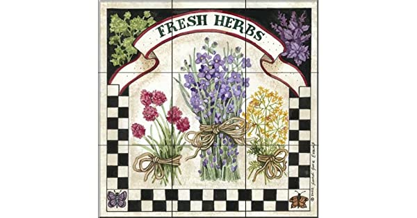 Amazon.com: Baldosa cerámica Mural – Fresh Herbs by Sandi ...