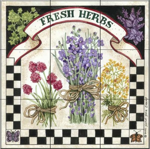 (Ceramic Tile Mural - Fresh Herbs - by Sandi Gore Evans - Kitchen backsplash/Bathroom Shower)