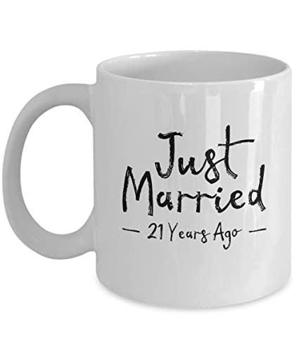 Image Unavailable. Image not available for. Color 21st Wedding Anniversary Gift ...  sc 1 st  Amazon.com & Amazon.com: 21st Wedding Anniversary Gift - Just Married 21 Years ...