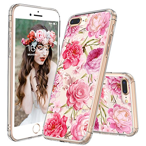 iPhone 8 Plus Case, iPhone 7 Plus Clear Case, MOSNOVO Girls Blossom Floral Flower Pattern Clear Design Back Phone Case with TPU Bumper Case Cover for iPhone 7 Plus/iPhone 8 Plus