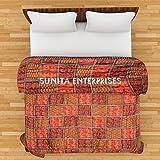 Indicraft Ethnic Jaipuri Print Cotton Bed Razai Quilt Double Multi Colored