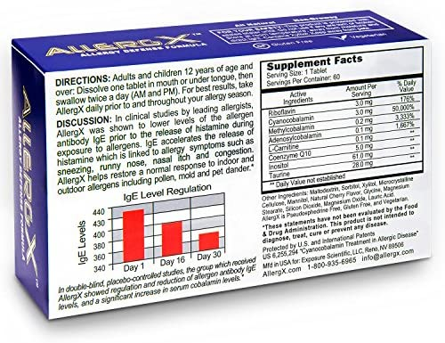 AllergX Allergy Defense Formula - 60 Tablets - All Natural & Patented Formula to Attack the Root Cause of Symptoms - Non Drowsy Formula for Congestion, Sneezing, Runny Nose