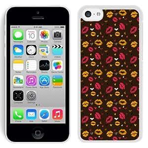 NEW Unique Custom Designed iPhone 5C Phone Case With Lips Kisses Valentines Illustration_White Phone Case