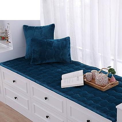 AMYDREAMSTORE Bay Window Cushion,Thick Plush Floating Window pad Window sill mat Pastoral Anti-Slip Tatami Cushion Cover Seats Blanket Balcony-E ...
