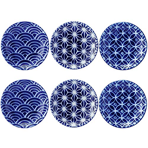 Zen Table Japan Japanese Traditional Blue Round Plates Made in Japan 6 Piece Set