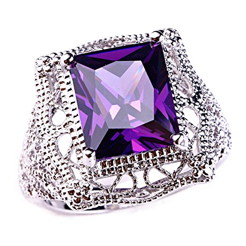 Psiroy 925 Sterling Silver Created Amethyst Filled Filigree Art Deco Statement Ring Size 10