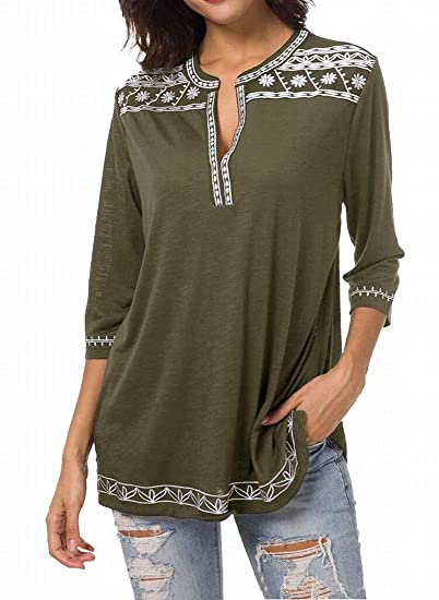 bfaf16ce7c Women's Lightweight 3/4 Sleeve Boho Shirts Embroidered Peasant Top Army  Green S