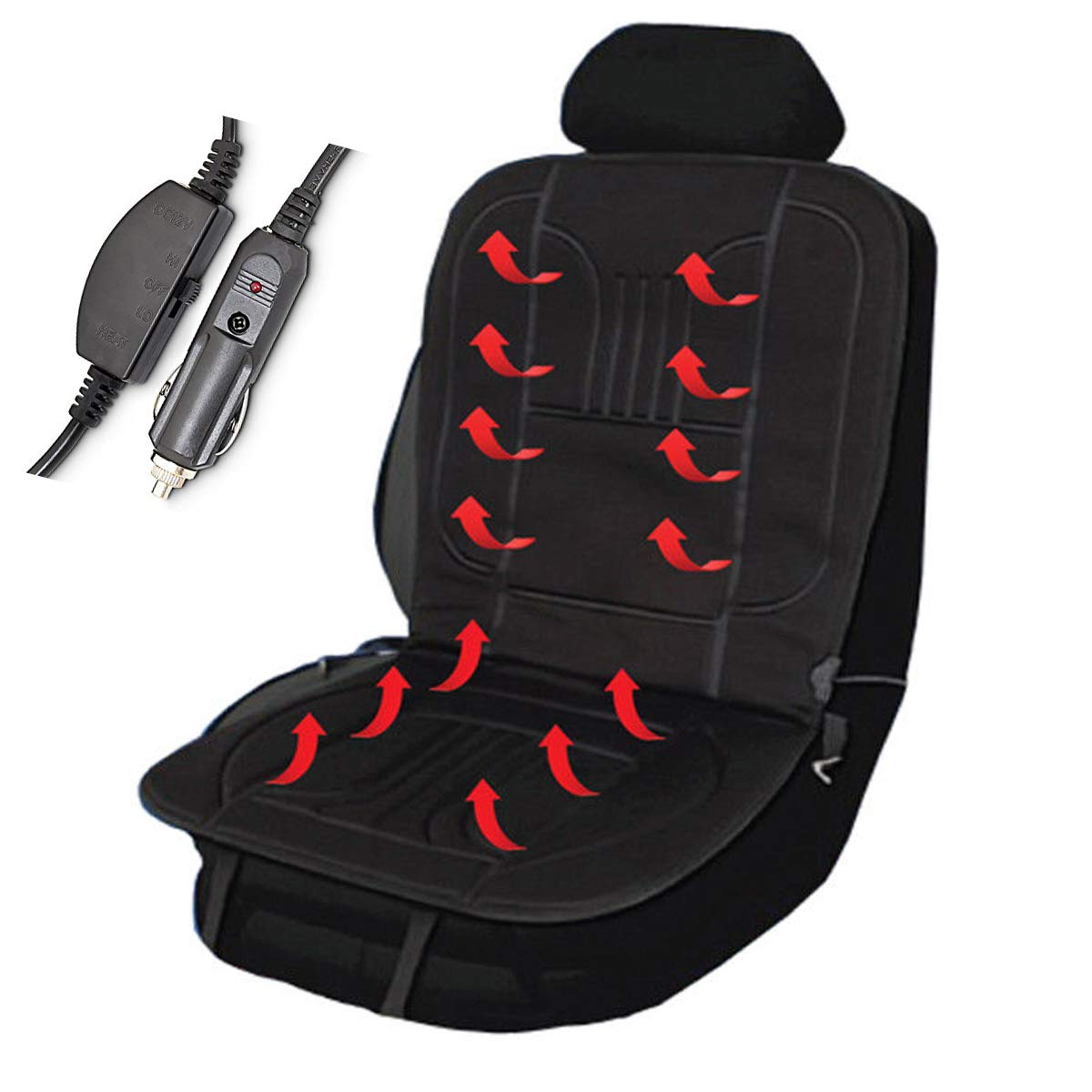FiNeWaY 12V Heated Car Van Front Seat Cover 12 Volt Padded Thermal Cushion Universal Fit With 2 Heat Settings- Warm Cosy Winter Travel Seat – With Elasticated Strap to Secure the Seat Fineway.