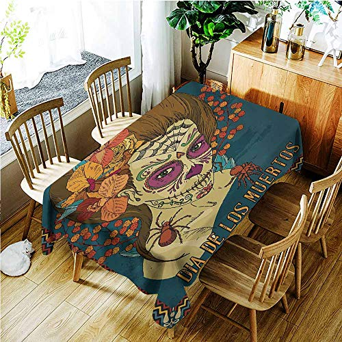 TT.HOME Tablecloth,Day of The Dead Dia de Los Muertos Skull Girl with Roses Hearts Print,Modern Minimalist,W60x120L,Petrol Blue Caramel and Amber