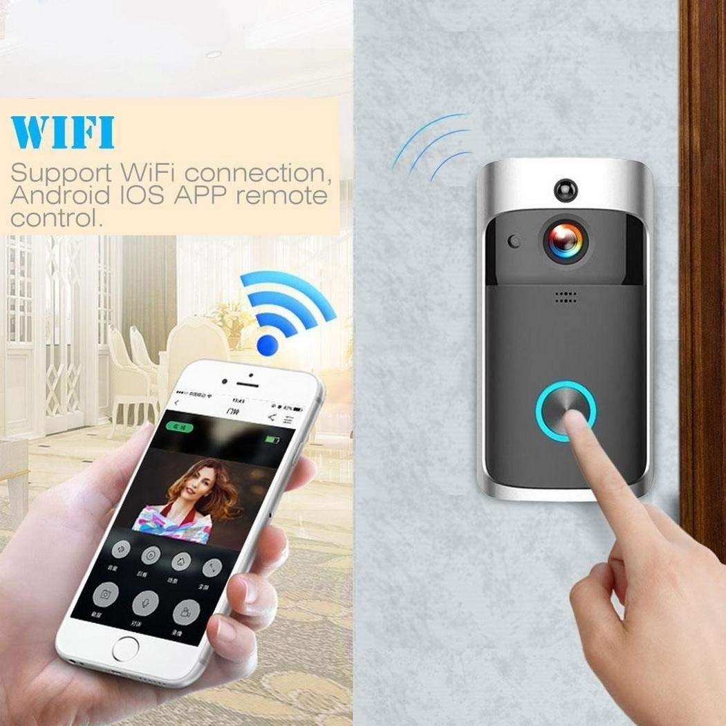 Voiks WiFi Video Doorbell, Waterproof Smart Doorbell 720P WiFi Security Camera with Real-Time 2-Way Talk & Video, Night Vision and166° Wide Angle,Motion Detection and App Control for iOS and Android Night Vision and166°Wide Angle