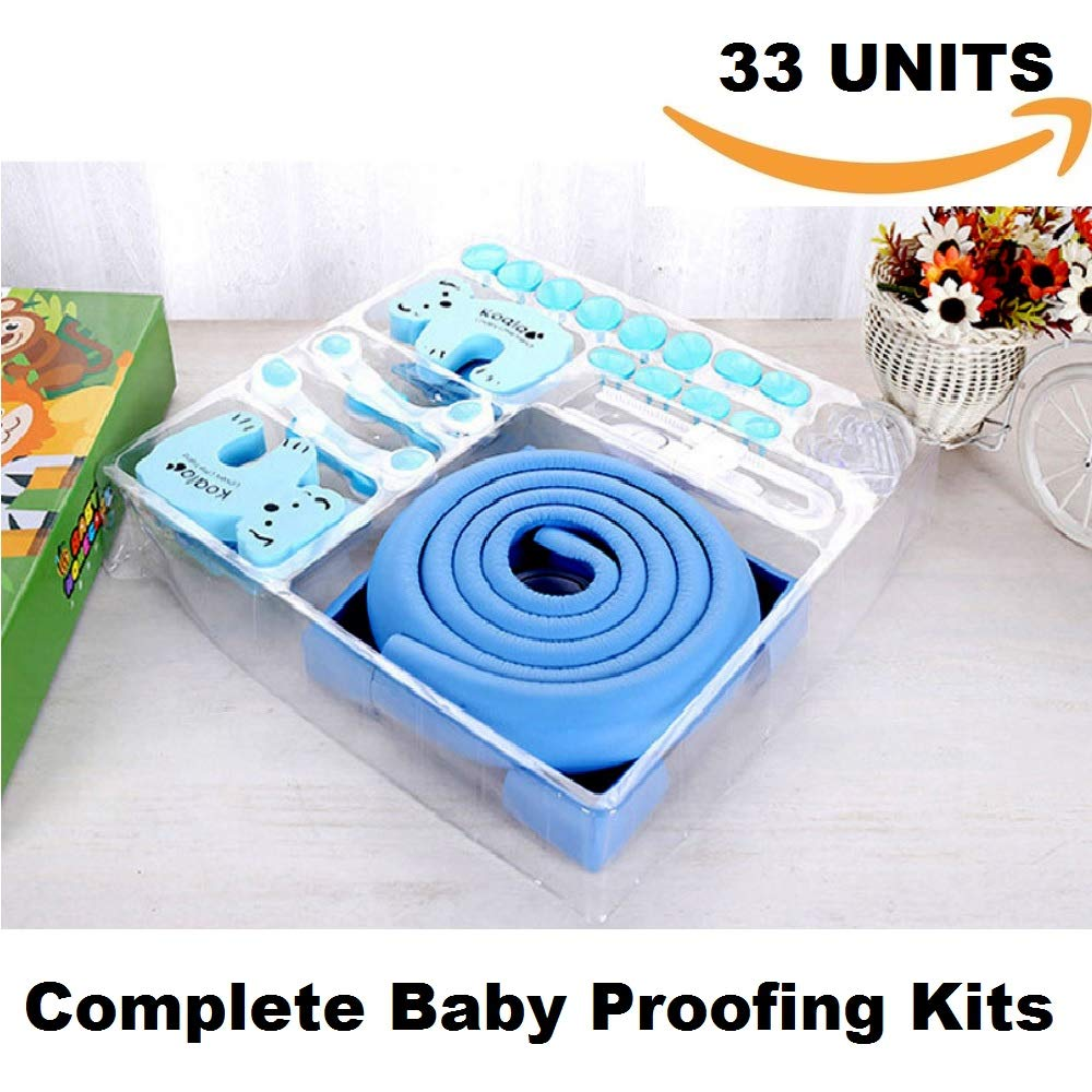 LovePeace Baby Proofing Kit,33pcs,Blue,Baby Shower Gift,Refrigerator Lock,Childproof Cabinet Lock,Baby Proof Toilet,Outlet Cover,Corner Protector,Sliding Door Lock,Baby Proof Door Lock,Corner Cushions