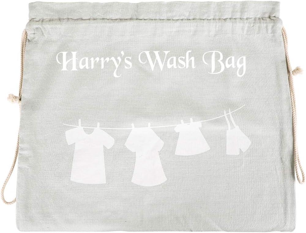 Dibor Bolsa de lavandería 100% algodón, Color Gris con cordón y diseño de líneas Blancas: Amazon.es: Hogar