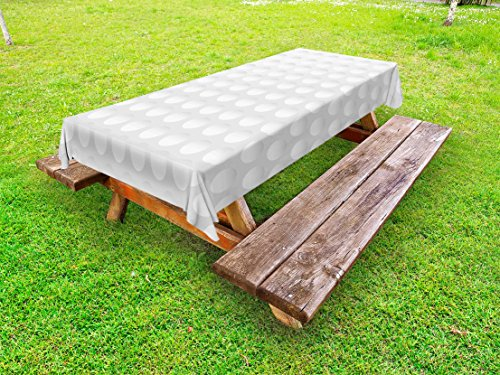(Lunarable Grey Outdoor Tablecloth, Atrsy Circle Rounds Design Spherical Golf Balls Club Recreation Sports Hobby Themed Image, Decorative Washable Picnic Table Cloth, 58